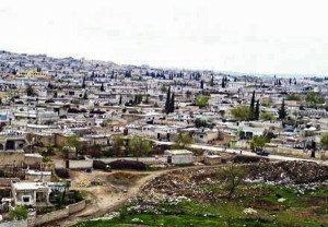 Kobane in Syria before the bombing of the city