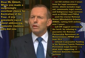 Short lists of Abbott's cuts to Women's safety