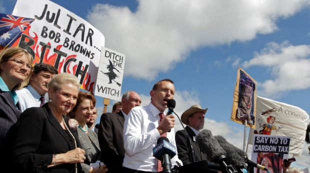 "Tony Abbott in front of ""ditch the witch"" - Photo: Andrew Meares"
