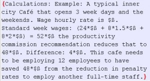 Example calculation of the mathematical Savings in Penalty rate changes.