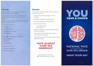 One side of the anti-gay pamphlet authorised by Hon. Chris Miles