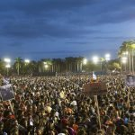Thousands of people gather at Revolution Square Antonio Maceo during a public tribute to late Cuban leader Fidel Castro in, Santiago de Cuba, Cuba, 03 December 2016.
