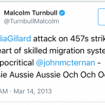 Malcolm doesn't appear to like 457 changes?